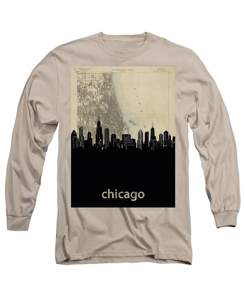 Chicago Skyline Map Long Sleeve T-Shirt