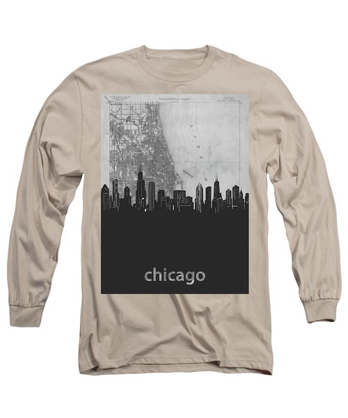 Chicago Skyline Map Grey Long Sleeve T-Shirt
