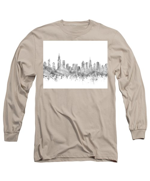 Chicago Skyline Music Notes Long Sleeve T-Shirt