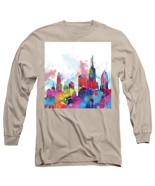 Chicago Skyline Panorama Watercolor 2 Long Sleeve T-Shirt