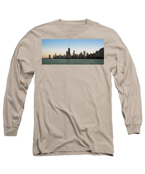Chicago Skyline Sundown Panorama Long Sleeve T-Shirt