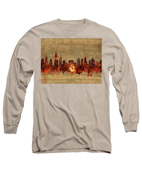 Chicago Skyline Vintage 2 Long Sleeve T-Shirt