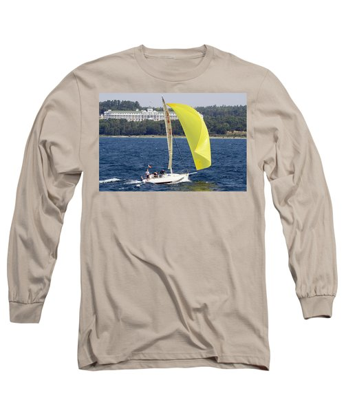 Chicago To Mackinac Yacht Race Sailboat With Grand Hotel Long Sleeve T-Shirt