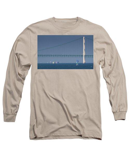 Chicago To Mackinac Yacht Race Sailboats With Mackinac Bridge Long Sleeve T-Shirt