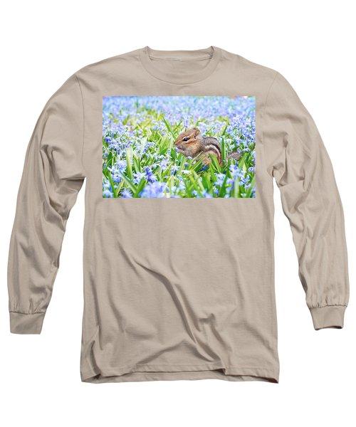 Chipmunk On Flowers Long Sleeve T-Shirt