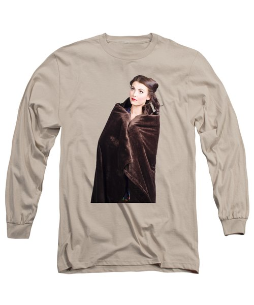 Cold Girl Feeling The Chill Of Winter In Blanket Long Sleeve T-Shirt