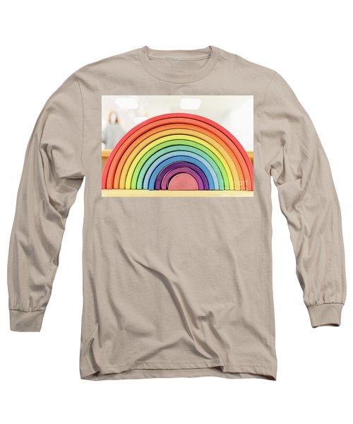 Colorful Waldorf Wooden Rainbow In A Montessori Teaching Pedagogy Classroom. Long Sleeve T-Shirt