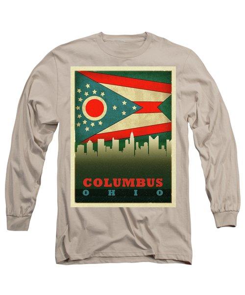 Columbus City Skyline State Flag Of Ohio Long Sleeve T-Shirt