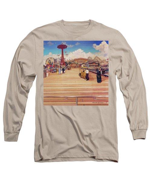 Coney Island Boardwalk Pillow Mural #2 Long Sleeve T-Shirt
