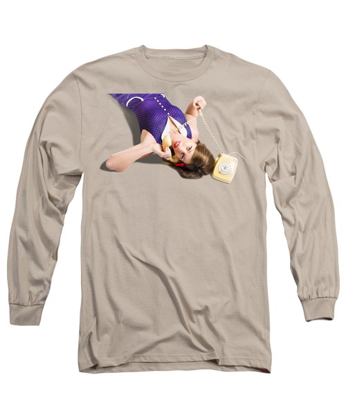 Cool Pin-up Girl Making Conversation On Telephone Long Sleeve T-Shirt