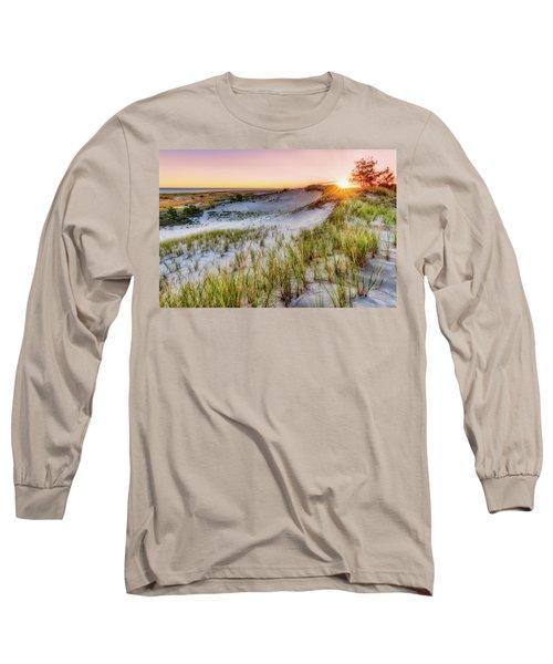 Long Sleeve T-Shirt featuring the photograph Crane Beach, Dune Grass Sunrise  by Michael Hubley
