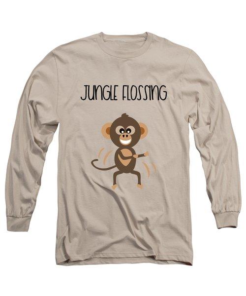 Cute Animal Monkey Jungle Flossing  Long Sleeve T-Shirt