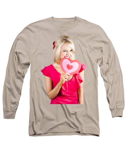 Cute Woman Biting Big Red Love Heart Long Sleeve T-Shirt