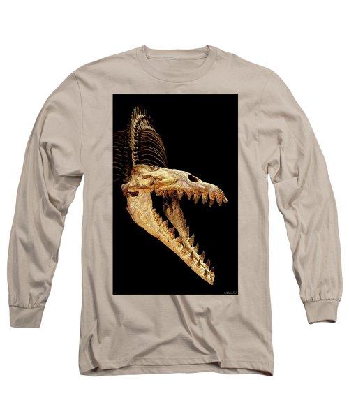 Cynthiacetus Skull In Black Long Sleeve T-Shirt