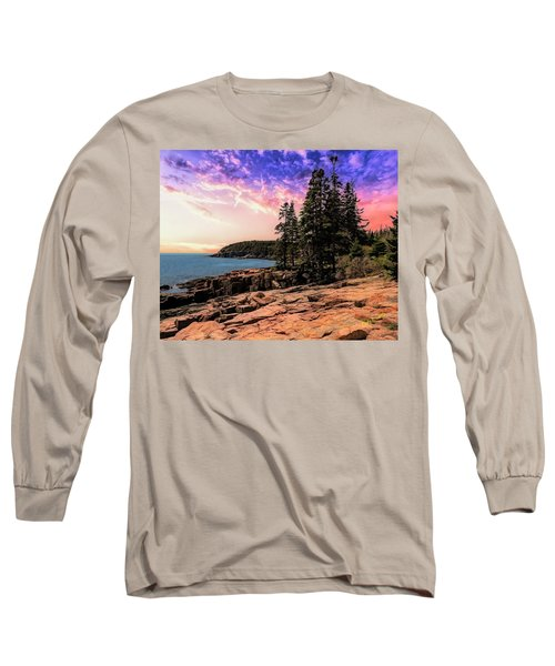 Distant View Of Otter Cliffs,acadia National Park,maine. Long Sleeve T-Shirt