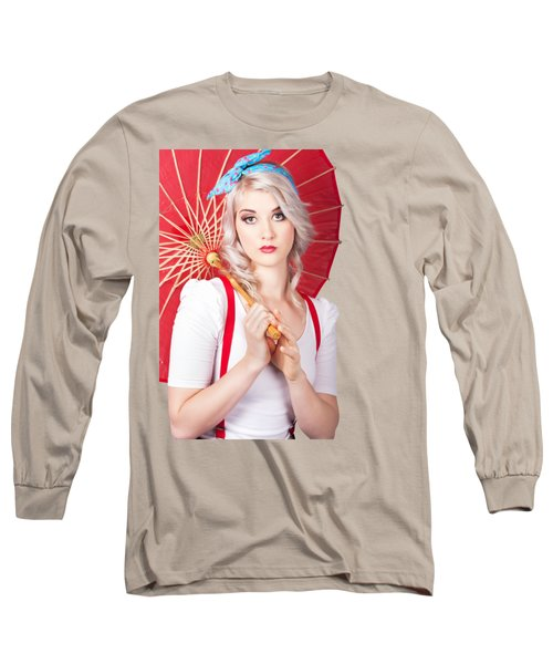 Dreamy Blond Pin Up Woman With Parasol. Old Style Long Sleeve T-Shirt