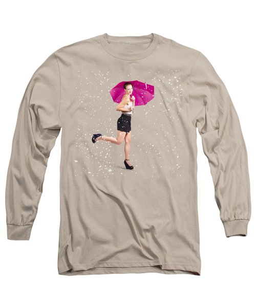 Fashion Pinup With Umbrella In Rain Long Sleeve T-Shirt