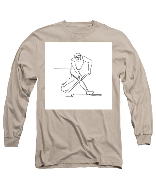 Field Hockey Player Continuous Line Long Sleeve T-Shirt
