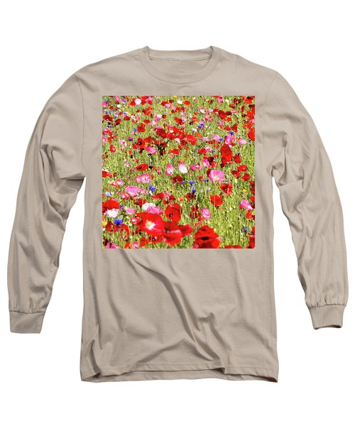 Field Of Red Poppies Long Sleeve T-Shirt
