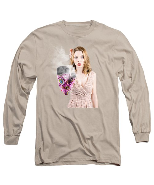 Fifties House Wife Gesturing A Cooking Time Out Long Sleeve T-Shirt