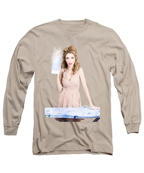 Fifties Housewife Woman Ironing Clothes Long Sleeve T-Shirt