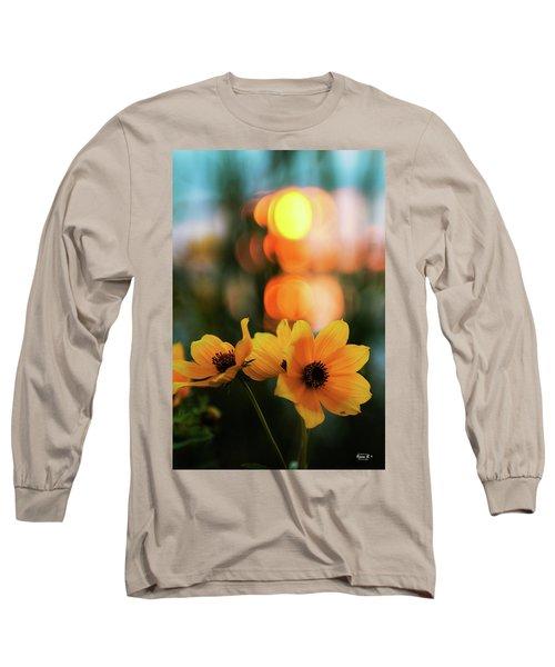 Flowery Bokeh Sunset Long Sleeve T-Shirt