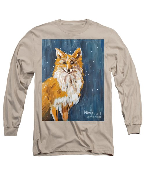 Long Sleeve T-Shirt featuring the painting Fox Winter Night by Maria Langgle