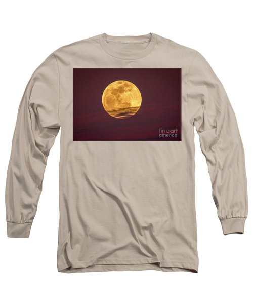 Full Moon Above Clouds Long Sleeve T-Shirt