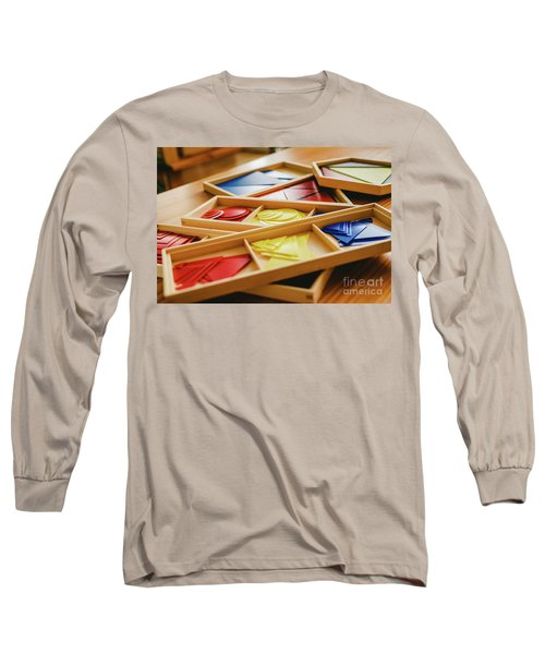 Geometric Material In Montessori Classroom For The Learning Of Children In Mathematics Area. Long Sleeve T-Shirt