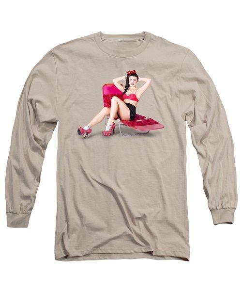 Glamour Pin-up Girl. Retro Summer Fashion Long Sleeve T-Shirt