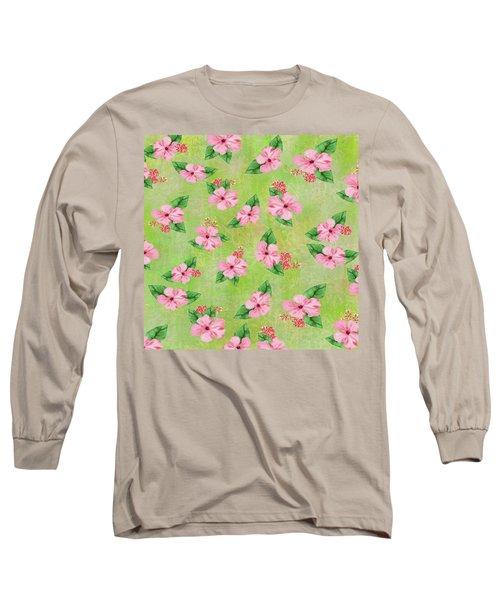 Green Batik Tropical Multi-foral Print Long Sleeve T-Shirt