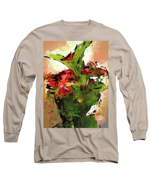 Green Leaves And The Red Flower Long Sleeve T-Shirt