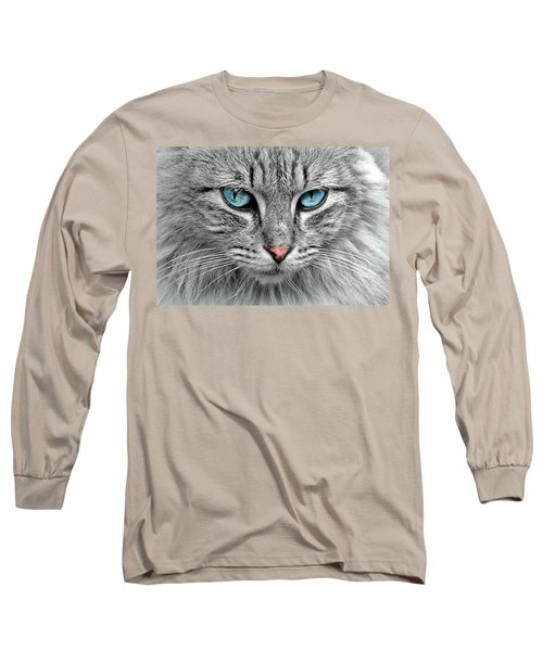 Grey Cat With Blue Eyes Long Sleeve T-Shirt