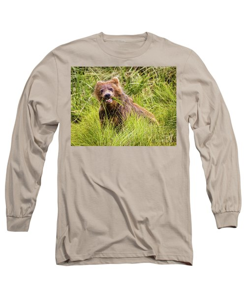 Grizzly Cub Grazing, Alaska Long Sleeve T-Shirt