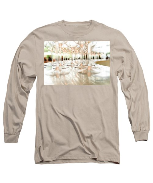 Group Of Empty Transparent Glasses Ready For A Party In A Bar. Long Sleeve T-Shirt