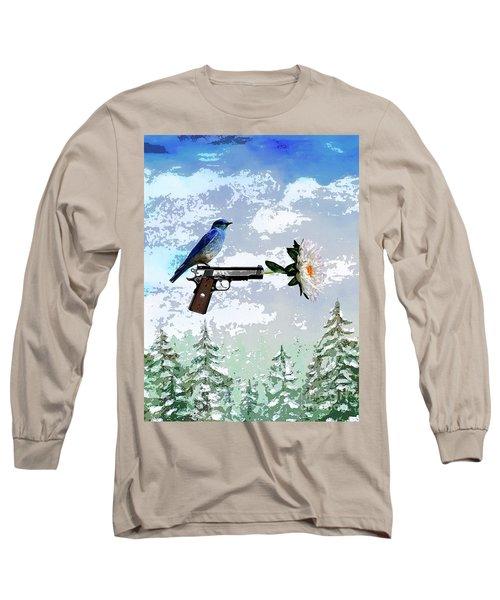 Bluebird Of Happiness- Flower In A Gun Long Sleeve T-Shirt