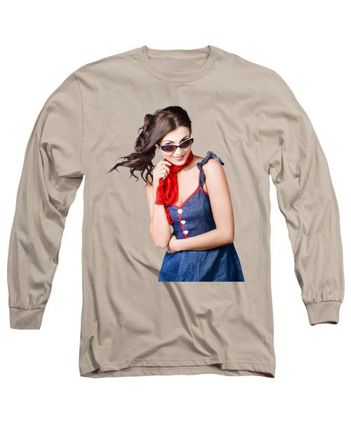Happy Smiling Young Pinup Girl In Rockabilly Style Long Sleeve T-Shirt