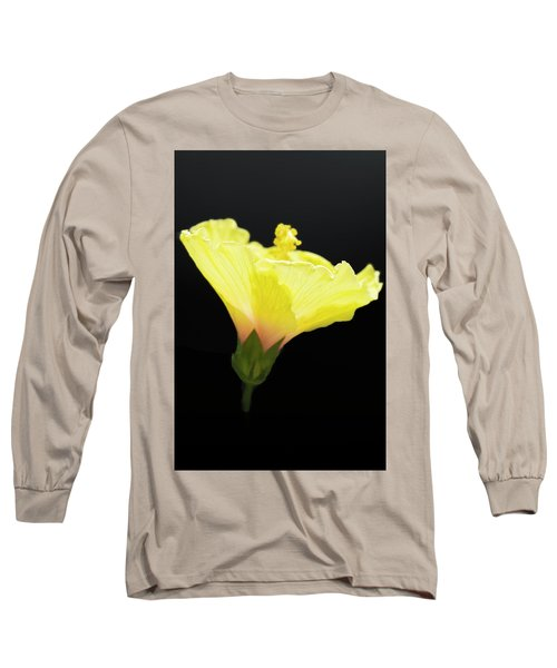 Hibiscus In Black Long Sleeve T-Shirt