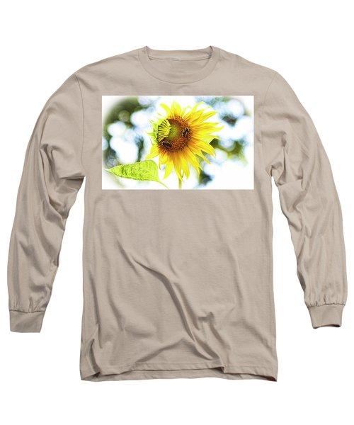 Honey Bees On Sunflower Long Sleeve T-Shirt