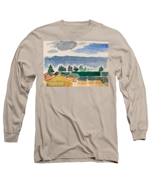 Houses, Trees, Mountains, Clouds Long Sleeve T-Shirt