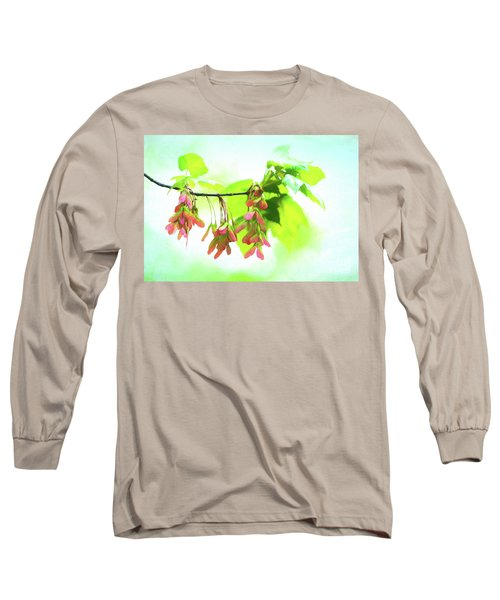 Impressionistic Maple Seeds And Foliage Long Sleeve T-Shirt