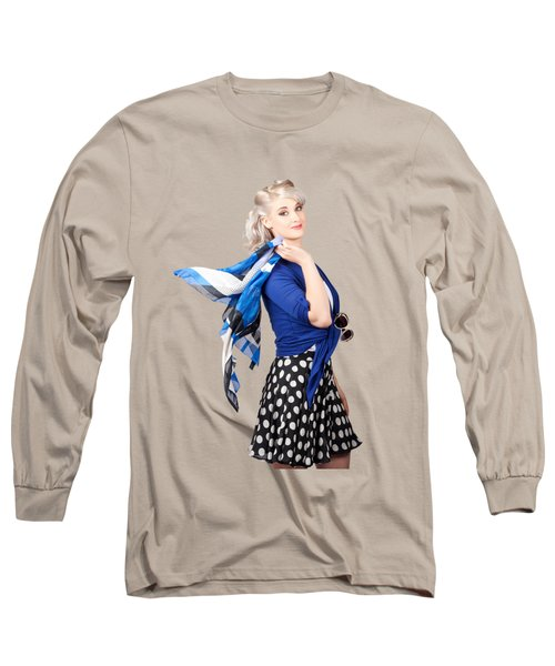 Isolated Caucasian Woman With Pinup Fashion Style Long Sleeve T-Shirt