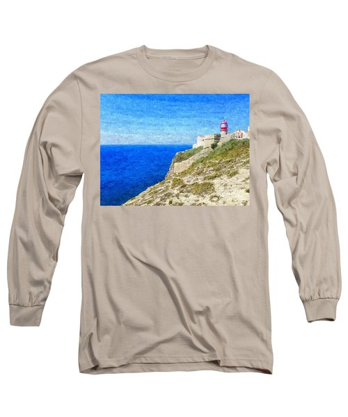 Lighthouse On Top Of A Cliff Overlooking The Blue Ocean On A Sunny Day, Painted In Oil On Canvas. Long Sleeve T-Shirt