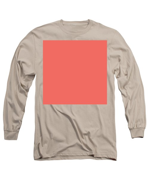 Long Sleeve T-Shirt featuring the mixed media Living Coral - Pantone Color Of The Year 2019 by Carol Cavalaris