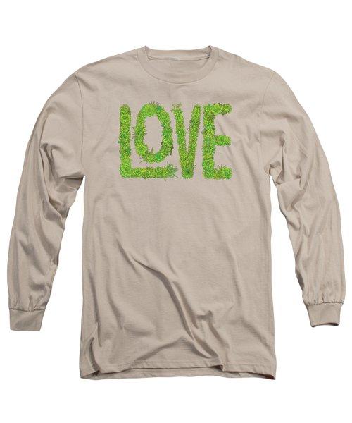Love Succulent Dark Background Long Sleeve T-Shirt