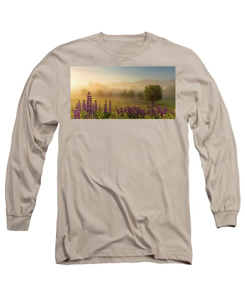 Lupine In The Fog, Sugar Hill, Nh Long Sleeve T-Shirt