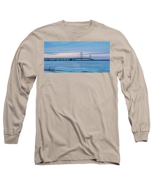 Mackinac Bridge In Ice 2161803 Long Sleeve T-Shirt