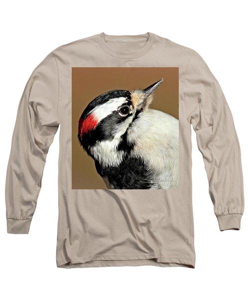 Male Downy Woodpecker Long Sleeve T-Shirt