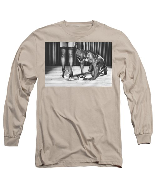 Man With Mask On His Knees Beside His Mistress Long Sleeve T-Shirt