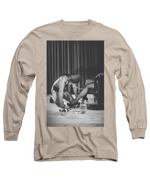 Man With Masked Face On His Knees In Front Of His Mistress Long Sleeve T-Shirt